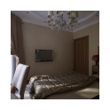 Грамотная организация пространства в спальне позволила поместить всю необходимую мебель без серьезных потерь полезной площади.