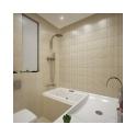Сама ванная, раковина, биде имеют четкую, слегка обтекаемую форму. Это привносит в интерьер уют и мягкость.