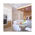Обеденная зона с небольшим квадратным столом находится за спинкой дивана, создавая уединенную атмосферу для семейных ужинов