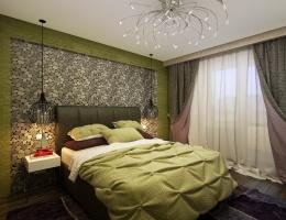 Секрет гармоничного дизайна этой спальни в сочетании стилей, цветов и фактур, в минимализме и оригинальных «акцентах».