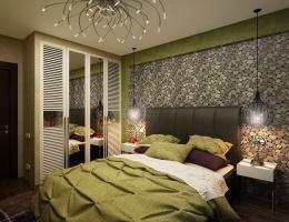 Из мебели в спальне предусмотрено все самое необходимое: большая удобная кровать, две лаконичные прикроватные тумбочки, встроенный шкаф