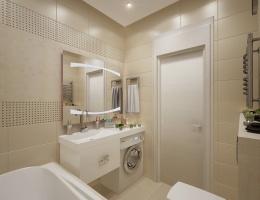 Как пустить максимум света в миниатюрное помещение, где нет ни одного окна? С этой задачей справились наши дизайнеры, оформляя ванную в этой квартире.