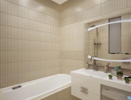 Оформлена эта ванная в бежево-белых тонах, которые делают ее уютной и объемной. Современная сантехника и бытовая техника прекрасно вписались в этот лаконичный интерьер.