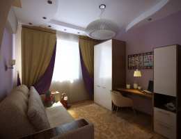 Представленная детская комната — это пространство для игр, учебы и отдыха, где минимум мебели и максимум простора и света.