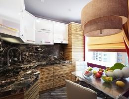 Небольшая уютная кухня выполнена в современном стиле фьюжн