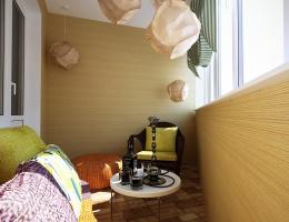 В декоре балкона преобладают теплые, пастельно-коричневые тона, которые создают атмосферу релакса, спокойствия и неги