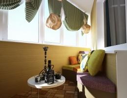 Обратите внимание на оригинальные, словно бумажные светильники, которые вечером создают на балконе особую ауру. А днем помещение наполняется светом и теплом из больших застекленных окон, которые мы не стали скрывать широкими занавесями