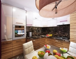 Холодильник, духовой шкаф и прочая полезная современная техника декорированы в едином стиле