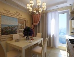 Главное украшение этого классического интерьера — живописное панно, расположенное в обеденной зоне. Оно изображает традиционный итальянский пейзаж, колоритный, спокойный, умиротворяющий.