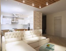 Взявшись за планировку этой комнаты-студии, наши дизайнеры использовали современные приемы: сочетание белого и пастельного тонов для объема, минимум громоздкой мебели для простора, вставки «под дерево» для уюта