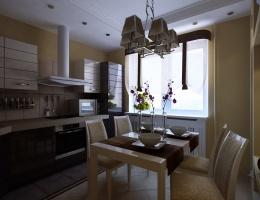 Свет, льющийся в кухню из окна, преумножается и подчеркивается благодаря светлой мебели, пастельным стенам, глянцевой фурнитуре.