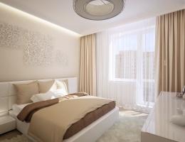 По желанию заказчиков дизайнерами была создана элегантная спальня в пастельных тонах. В этом светлом жизнерадостном интерьере так приятно засыпать и просыпаться, наслаждаясь комфортом и уютом