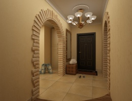 Просторный холл в бежевых тонах, объединён с кухней-столовой лишь аркой. Арка отделана светло-песочным шероховатым декоративным кирпичом в тон стенам.