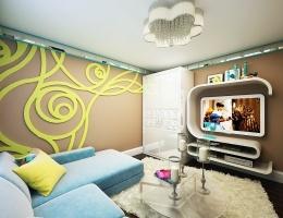 Одной из главных особенностей этой гостиной является оригинально декорированная стена