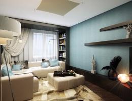 Тема контрастов продолжена и на другой стене гостиной. Она выполнена в интересном сине-сизом цвете, который гармонично сочетается с полками коричневого цвета