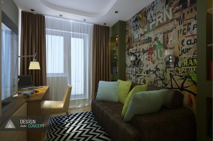 Функциональный минимализм, насыщенная цветовая гамма, модные детали. Все это мы воплотили при создании комнаты для подростка.