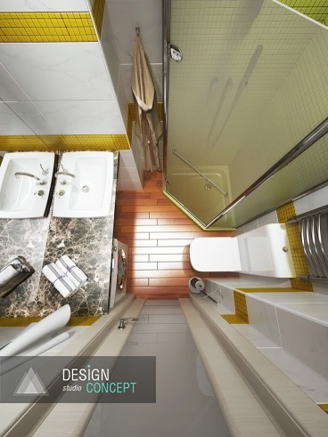 В дизайне этого санузла мы воплотили пожелание клиентов -  создать лаконичный, модный и не скучный интерьер на площади чуть более 3 кв. метров