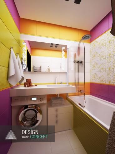 От сверкающе-белого дизайна санузла, декор ванной отличается кардинально. Здесь добавлены яркие краски, больше света, цвета и оригинальных акцентов