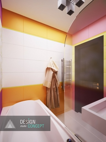 В этой ванной пересекаются не только разноцветные, но и разноуровневые плоскости. Так, ограждающий экран возле ванной выполнен из прозрачного пластика, который совсем не заметен, но при этом выполняет полезную функцию