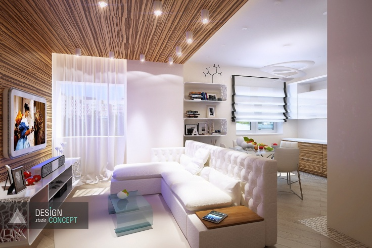 При создании просторной и уютной студии, которая объединила в себе гостиную и кухню, были использованы некоторые «секретные приемы»