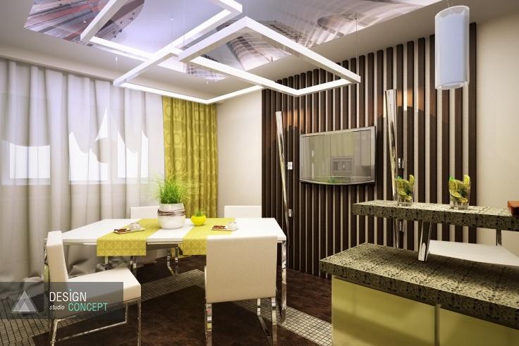 В декоре этой кухни гармонично сочетаются светлые и темные цвета, мозаичная и зеркальная фактуры