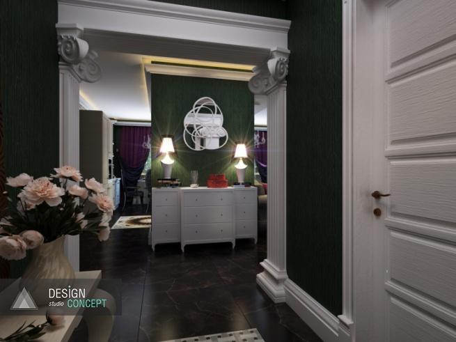 Белый вместительный комод в классическом стиле, оригинальное зеркало в витой раме, два лаконичных светильника-абажура