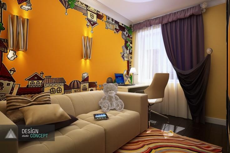 Яркая, модная, уютная спальня получилась, благодаря комбинации цветов и оригинальных эффектов