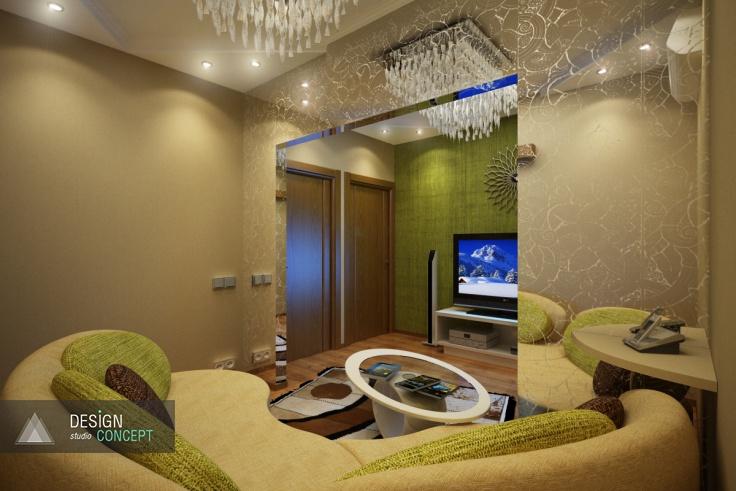 Одна из особенностей гостиной заключается в том, что в нее выходят сразу четыре двери. Эта «входная» зона символически отделена полупрозрачной аркой.