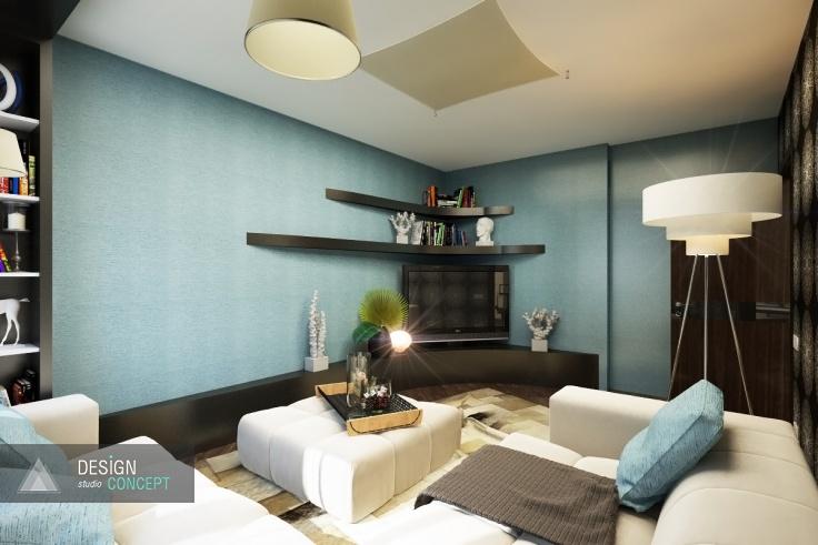 Спокойные, чуть прохладные цвета стен гостиной создают атмосферу, благоприятствующую уединению. В этом небольшом уютном помещении так приятно отдохнуть после рабочего дня, полежать с книгой, посмотреть любимый фильм