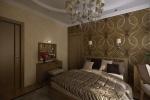 Главная изюминка спальни заключается в сочетании однотонной пастельной отделки и темно-коричневых обоев с фантазийным объемным рисунком.