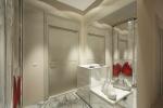 Визуально легкий интерьер получился благодаря многочисленным зеркальным поверхностям. Причем зеркала использованы не только в отделке шкафов прихожей, но и самостоятельно.