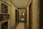 Длинный узкий коридор, куда выходят сразу пять дверей, казалось бы, не оставляет простора для творчества.