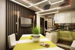 Из кухни есть три отдельных выхода: на уютный балкон, в прихожую и в гостиную