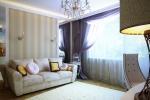 В отделке стен этой спальни-гостиной сочетаются несколько элементов: обои, фотообои и зеркала, обрамленные в светлые классические рамы